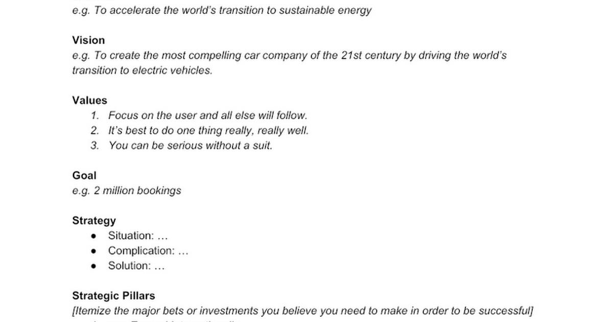 Template: Company Strategy - Google Docs