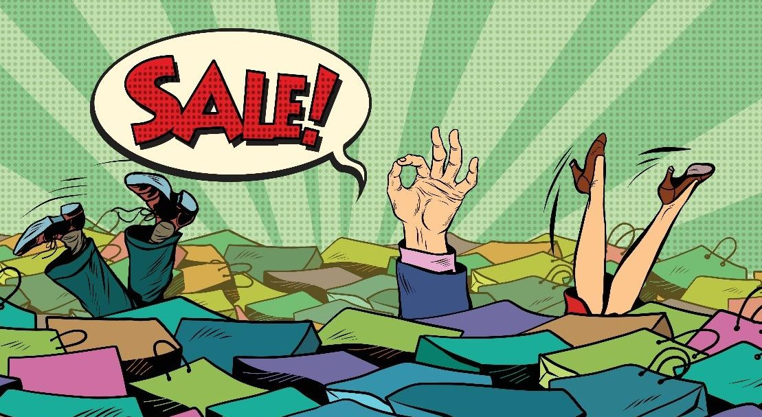Hands and legs appearing from a sea of shopping bags with the text bubble 'sale!'