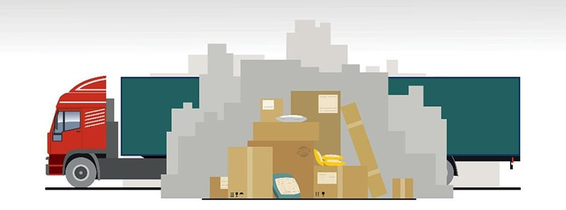 illustration of a semi-truck behind a stack of cardboard shipping boxes