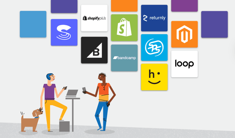 illustration of two people talking next to a dog with logos above them: sps, shopify, shopify plus, bigcommerce, happy returns, loop, returnly, bandcamp, and skubana