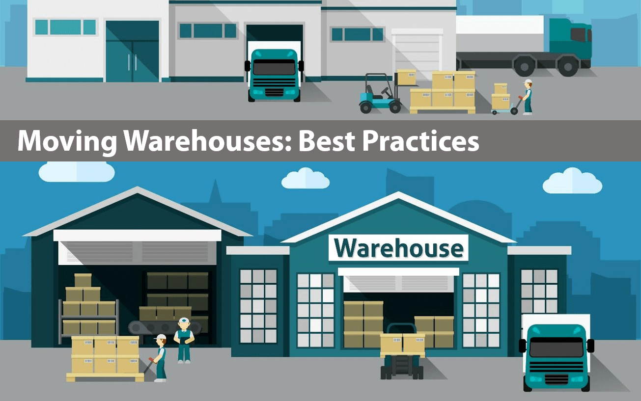 illustration of two warehouses: the top warehouse is quiet and calm and the bottom warehouse is busy and bustling; title at the top of the image reads 'moving warehouses: best practices'