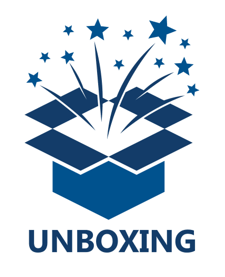 illustration of an open blue box with stars bursting from the top and text 'unboxing'