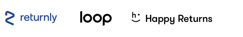 returnly, loop, and happy returns logos