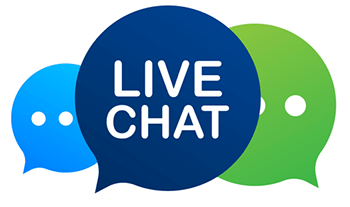 three chat bubbles with 'live chat' written on the middle bubble