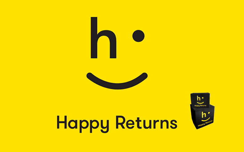 Happy Returns logo on a yellow background with 'happy returns' written underneath and two stacked boxes