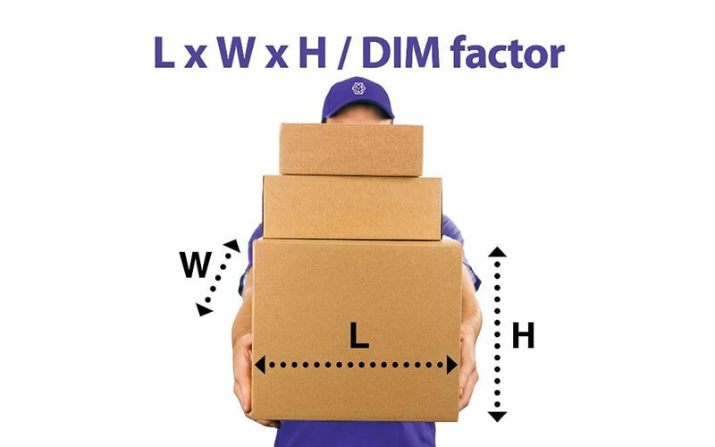 delivery person holding three cardboard shipping boxes with weight, length, and height labeled and the text 'L x W x H/DIM factor'