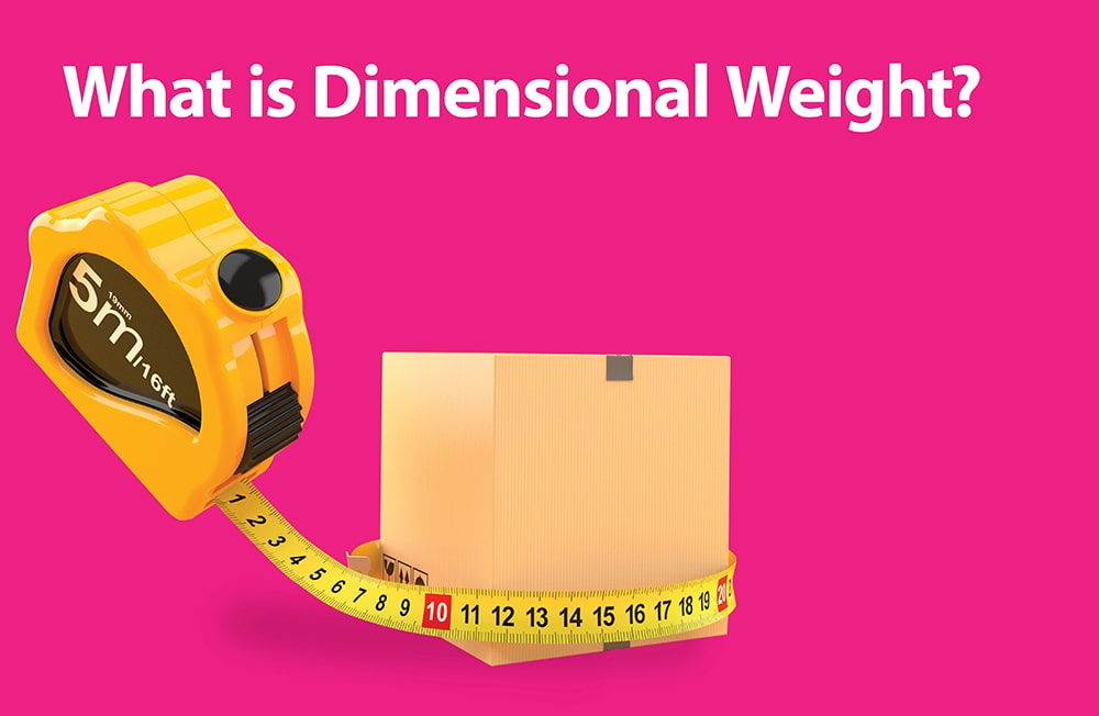 Yellow measuring tape wrapped around a shipping box with the text 'what is dimensional weight?'