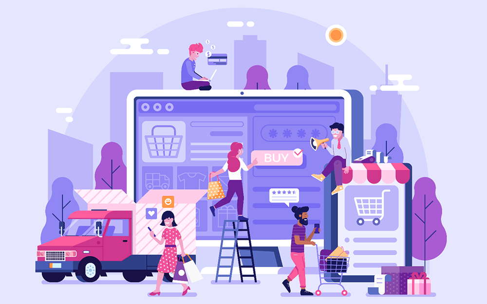 Illustration of people buying ecommerce products, shopping online and writing reviews.