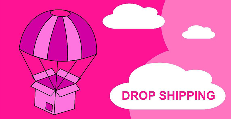 illustration of shipping box floating through the air by parachute with a cloud and then text 'drop shipping'