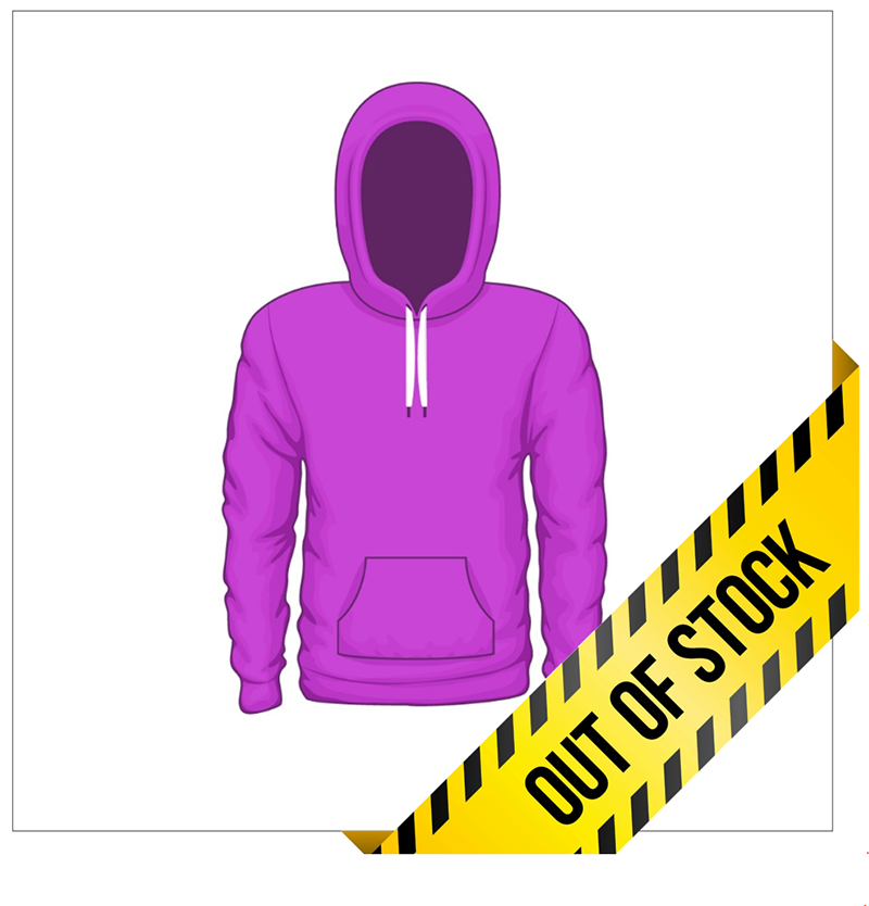 sweatshirt ecommerce product image with yellow 'out of stock' banner across the lower right corner