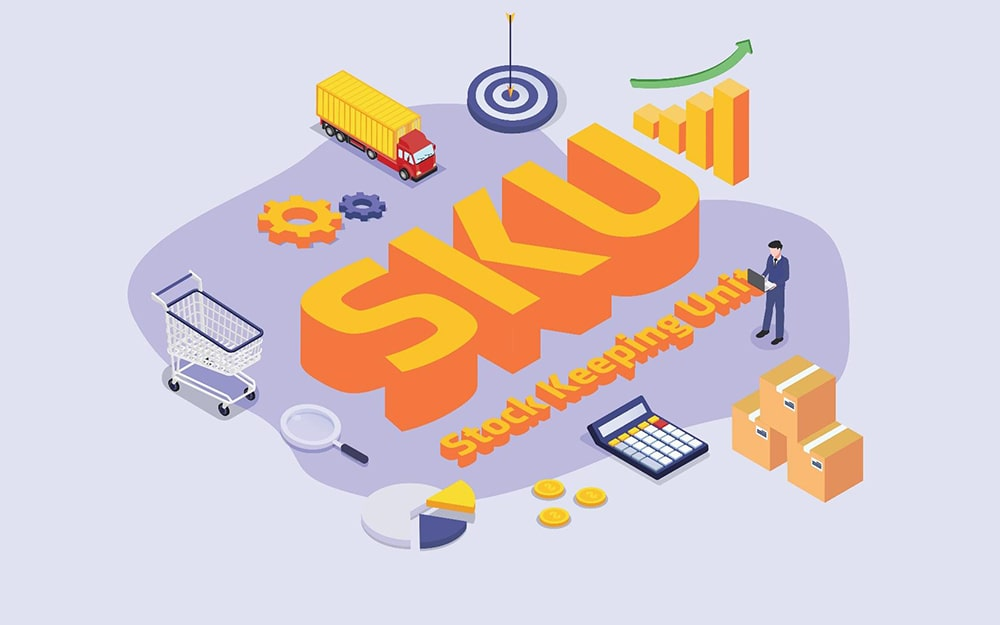 Illustration of ecommerce items: shopping cart, magnifying glass, pie chart, calculator, shipping boxes, graph, truck and gear cogs with man on laptop and text 'SKU stock keeping unit'