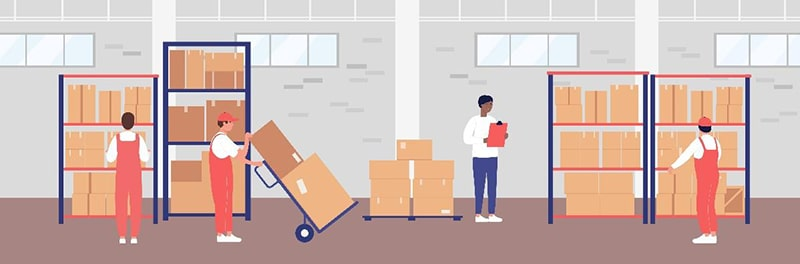 illustration of people working in a warehouse moving boxes on shelves with a handcart