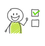 stick figure person with a checked box above an unchecked box