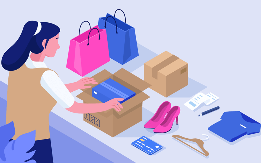 illustration of woman opening shipping boxes with shoes, clothing, and apparel with shopping bags on the counter
