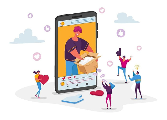 illustration of large phone with person on social media opening a cardboard box. smaller people surround the phone with hearts and foam fingers cheering the person on.