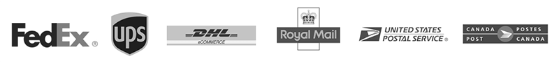 fedex, ups, dhl, royal mail, usps, and post canada logos