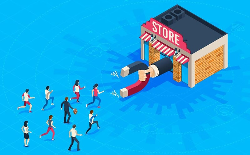 illustration of a giant hand holding a magnet protruding from a store with people running toward it