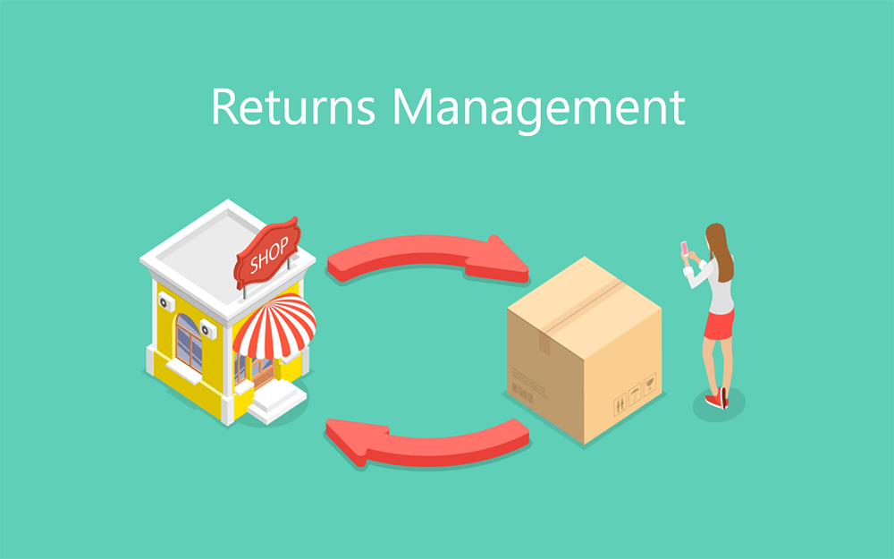 illustration of a store and shipping box with woman on her phone. there are two arrows going both ways between the two items and the text 'returns management'.