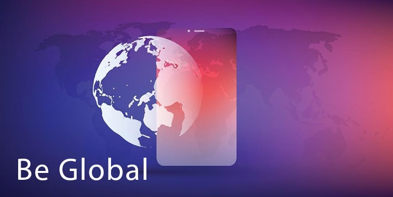 graphic of a world map with an overlay of the globe, the whiplash logo, and the text 'be global'