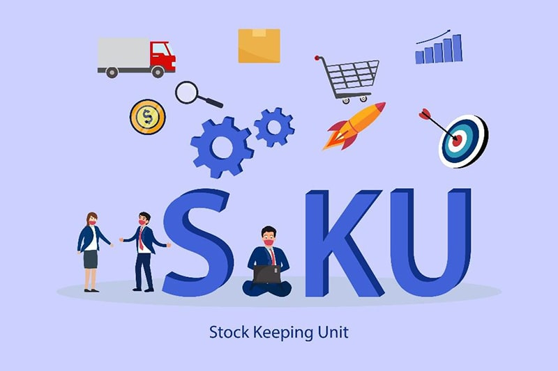 purple background with icons and illustrations: people talking, a person on a laptop, shipping truck, magnifying glass, rocket, bullseye, shopping care, shipping boxes, and gears. the text 'SKU' is in large letters, with smaller text underneath 'stock keeping unit'