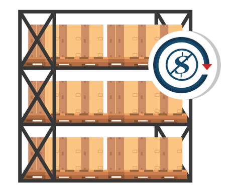 illustration of shipping boxes on a warehouse shelf with a money symbol with a line through it