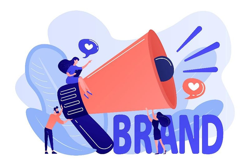illustration of a people on and around a giant bullhorn with the large text 'brand'