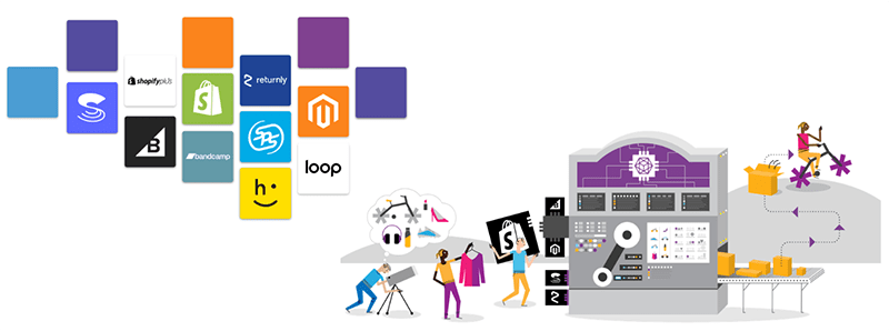 boxes representing whiplash's integration partners: shopify, bigcommerce, bandcamp, happy returns, loop, magento, returnly, sps, stitch labs