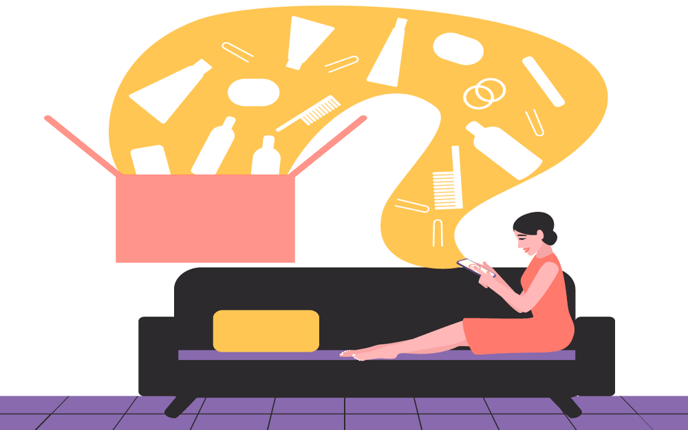 illustration of a woman looking at her phone on a couch. emerging from her phone are cosmetics products going into a box.