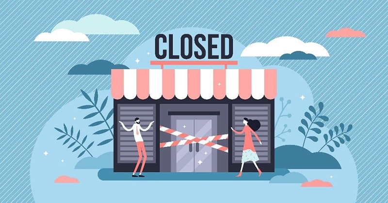 illustration of a storefront with a 'closed' sign on the top and two people outside trying to get in