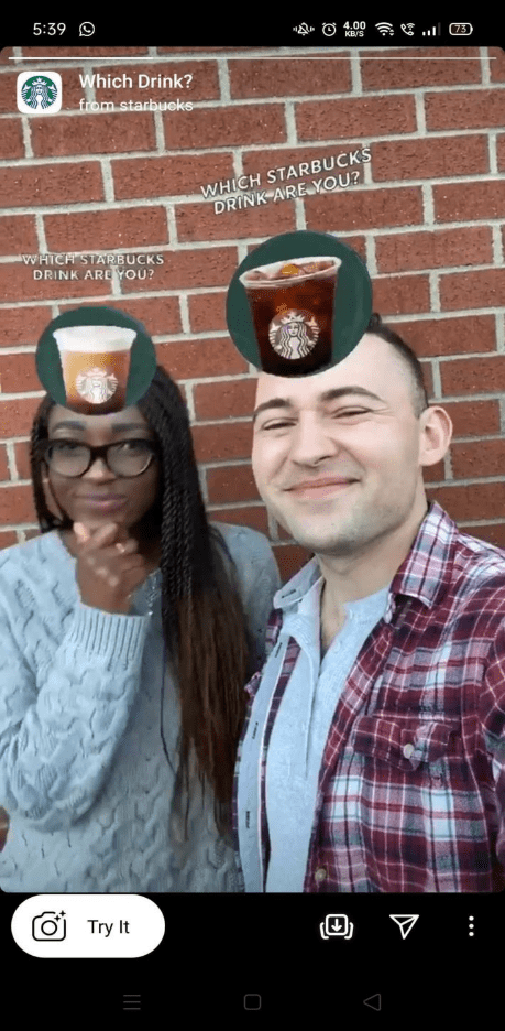screenshot of two people using the Starbucks 'which drink are you' filter on snapchat