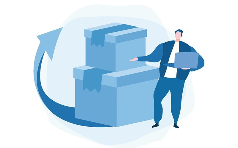 illustration of a person holding a laptop and gesturing toward a stack of boxes with an arrow pointing up, representing product returns