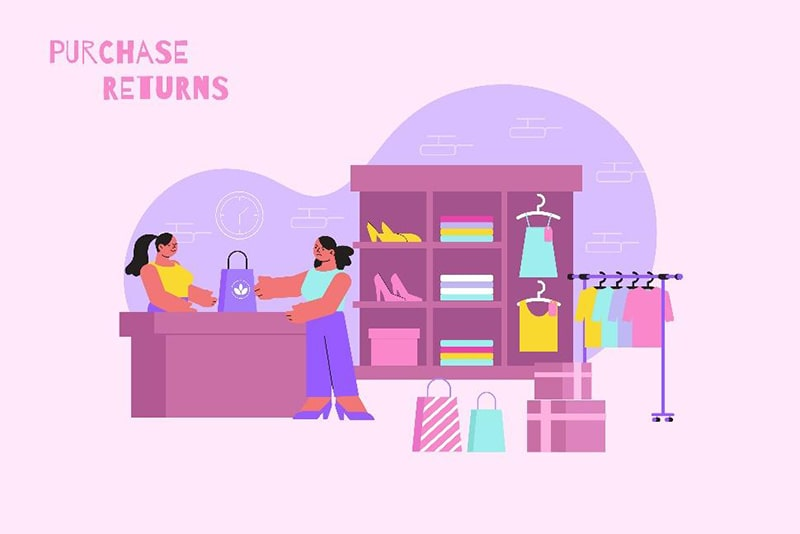 illustration of a woman returning clothes at an apparel store while another woman helps her from behind the counter. above is the text 'purchase returns'