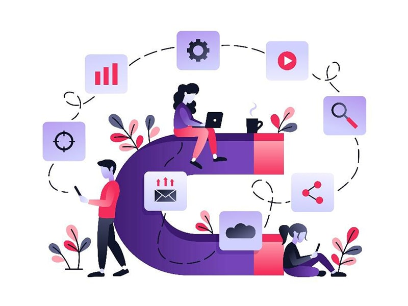 illustration of three people sitting on and around a giant magnet. surrounding the magnet are plants and icons: play button, magnifying glass, cloud, envelope, graph, gear, and target.