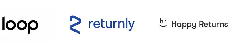 loop, returnly, and happy returns logos
