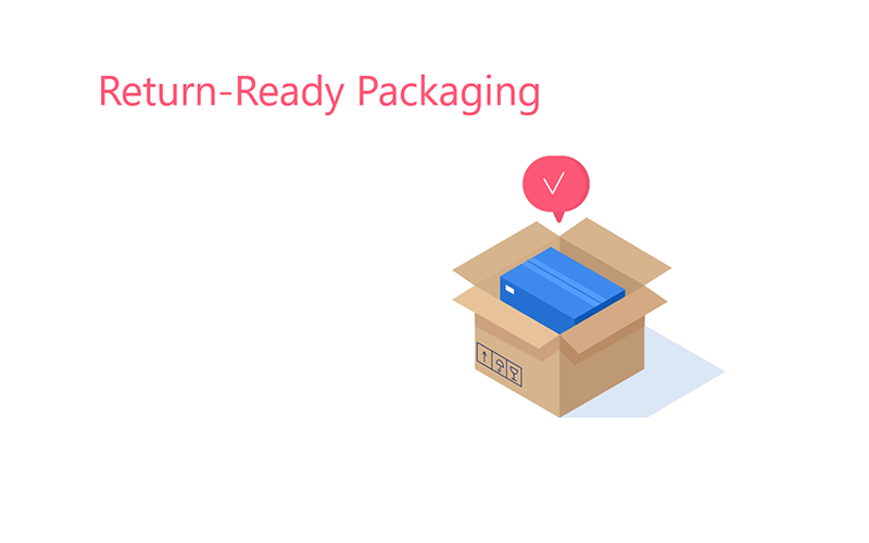 illustration of a cardboard shipping box with a shoebox inside. there is a checkmark above the box and the text 'return-ready packaging'.