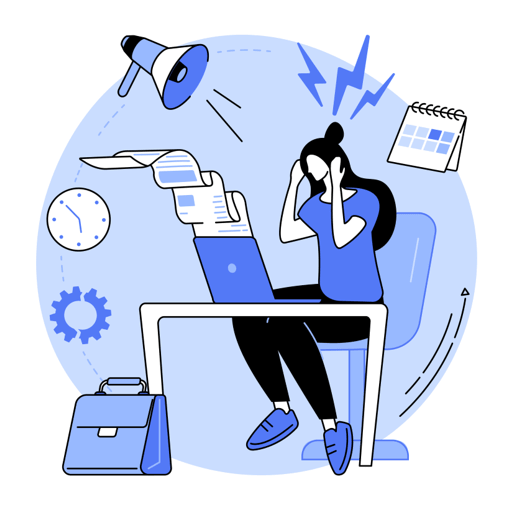 illustration of a woman sitting at a desk with paper coming out of her open laptop. surrounding her are a calendar, briefcase, clock, gear and megaphone. lightning bolts are coming from her head, representing stress.