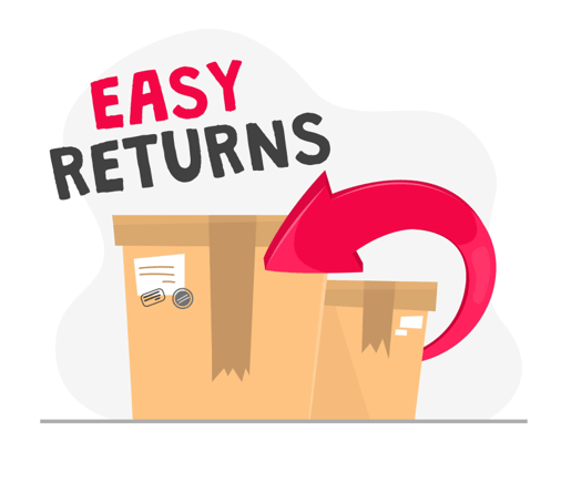 illustration of two boxes with a red arrow surrounding them. above is the text 'easy returns'.