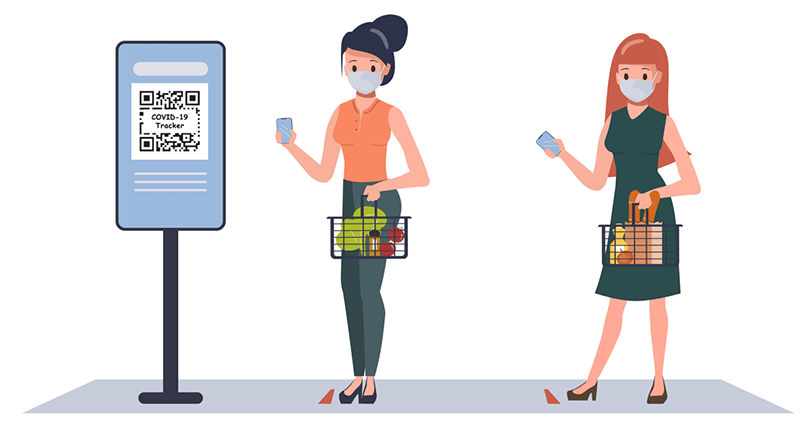 illustration of two women with masks on shopping at a grocery store and standing in line to use a Covid tracking QR sign