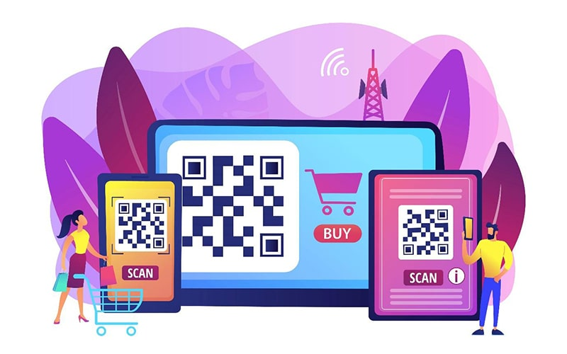 illustration of oversized mobile devices with QR codes available to scan for online shopping. a man and woman with a shopping cart are next to the large tablets and smartphone.