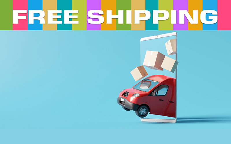 illustration of a delivery van and shipping boxes emerging from a giant-sized smartphone. above is a multi-colored background with the text 'free shipping'.