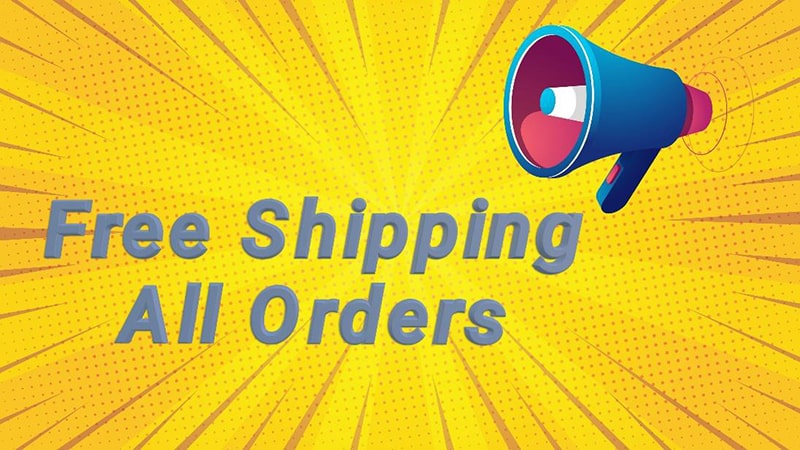 illustration of a megaphone on a yellow comic-book style background and the words 'free shipping on all orders'.