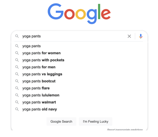 google search for 'yoga pants' with a list of other suggested terms under the search bar