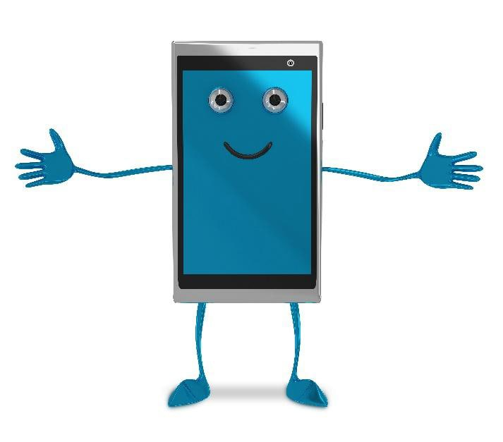 anthropomorphic mobile device with blue arms, legs, and a smiling face