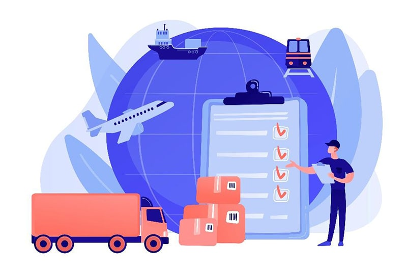 illustration of cargo, truck, plane, ship, and train with a delivery person and checklist