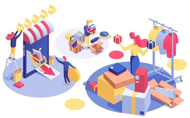 illustration of three vignettes: a woman shopping in an apparel store, surrounded by boxes; two people opening an ecommerce storefront; a man carrying shipping and gift boxes.