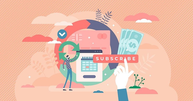 illustration of a hand clicking a subscribe button with money, calendar, and other commerce icons on a coral-colored background.