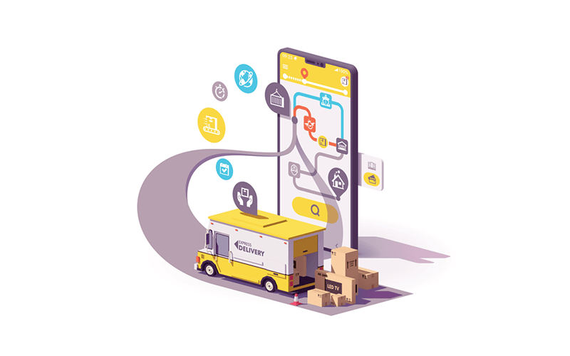 illustration of a delivery truck dropping off packages in front of an oversized smartphone. the phone has a map of the delivery route on the screen and there are multiple fulfillment icons stretching between the truck and the phone.