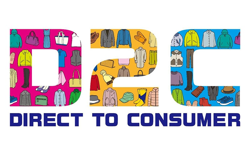 the text 'D2C' filled with an apparel pattern and 'direct to consumer' underneath in blue