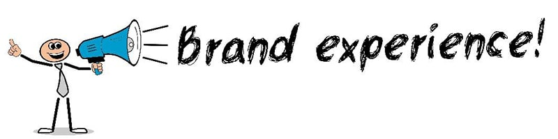 drawing of a stick figure holding a megaphone. next to them is the text 'brand experience!'.