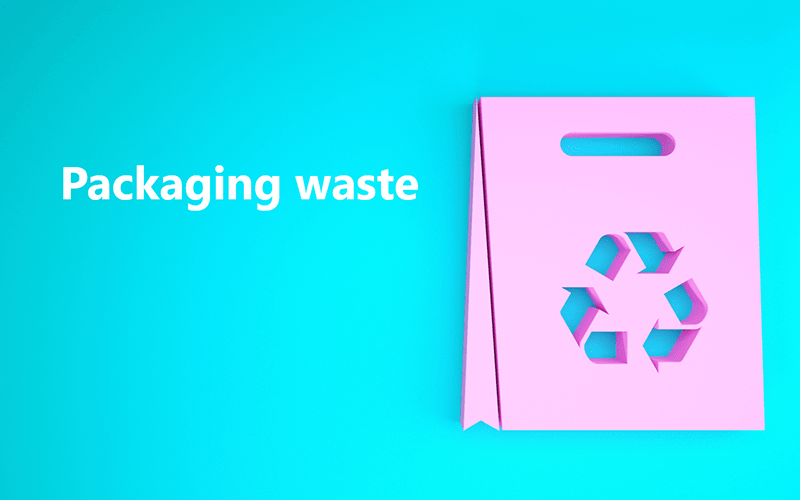 a blue background with the text 'packaging waste' in white and a pink recycling graphic